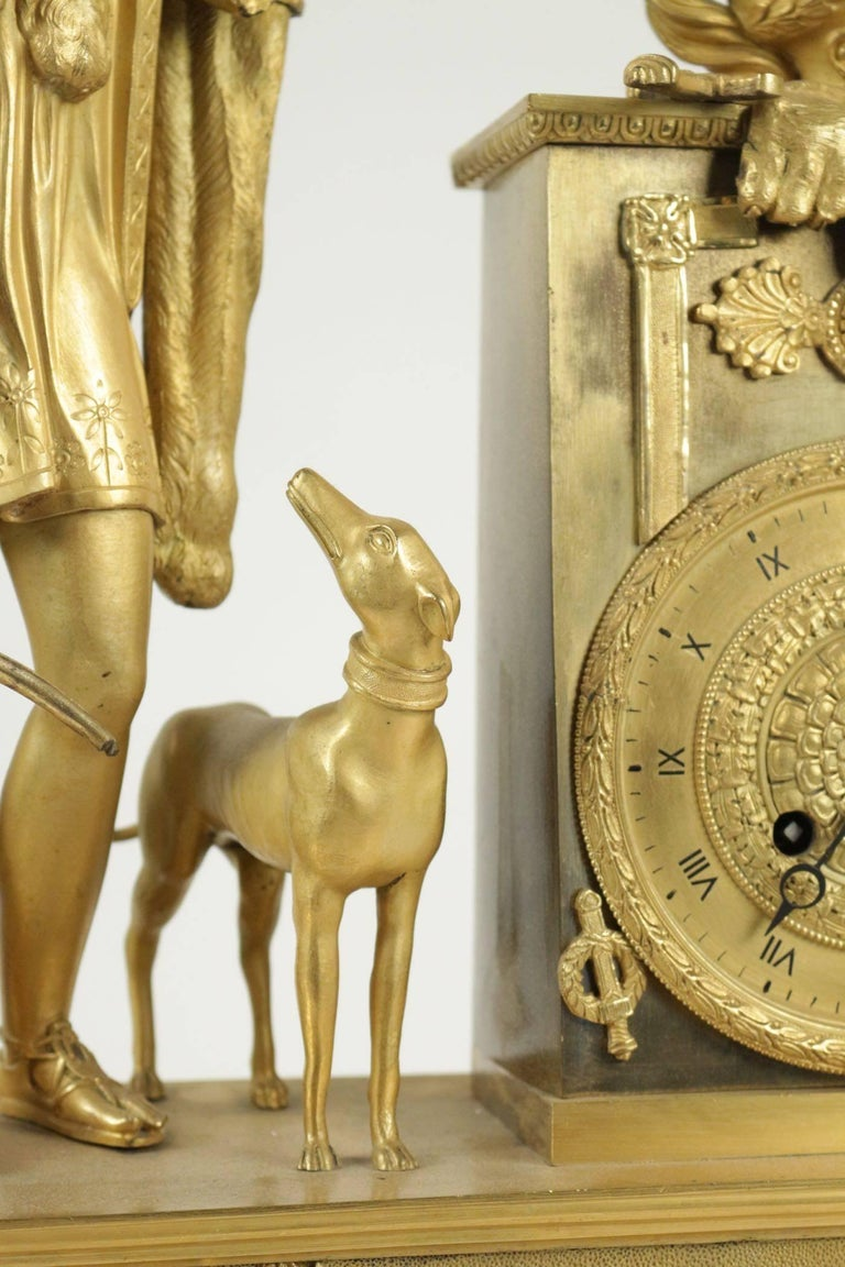 Gilt Empire Clock from the 19th Century For Sale