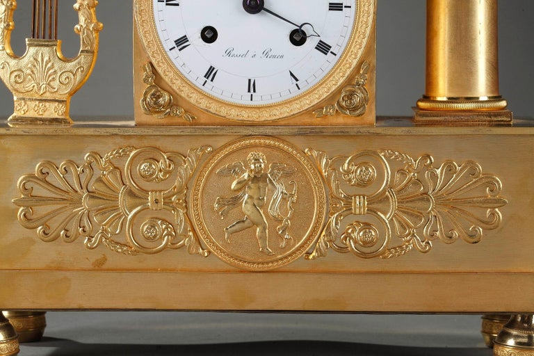 French Empire Clock The Spinner by Rossel in Rouen For Sale