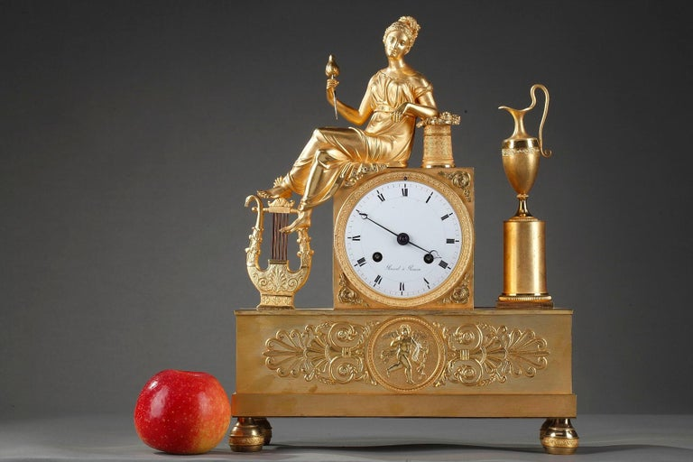 Gilt Empire Clock The Spinner by Rossel in Rouen For Sale