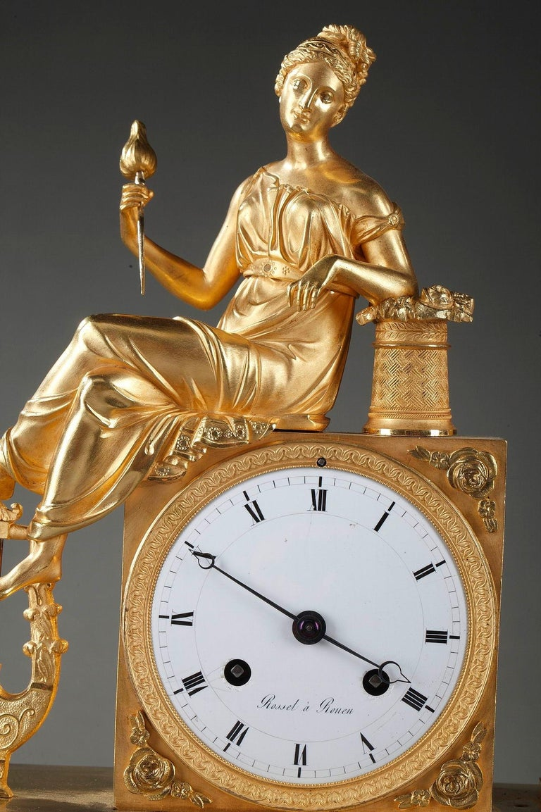 Bronze Empire Clock The Spinner by Rossel in Rouen For Sale