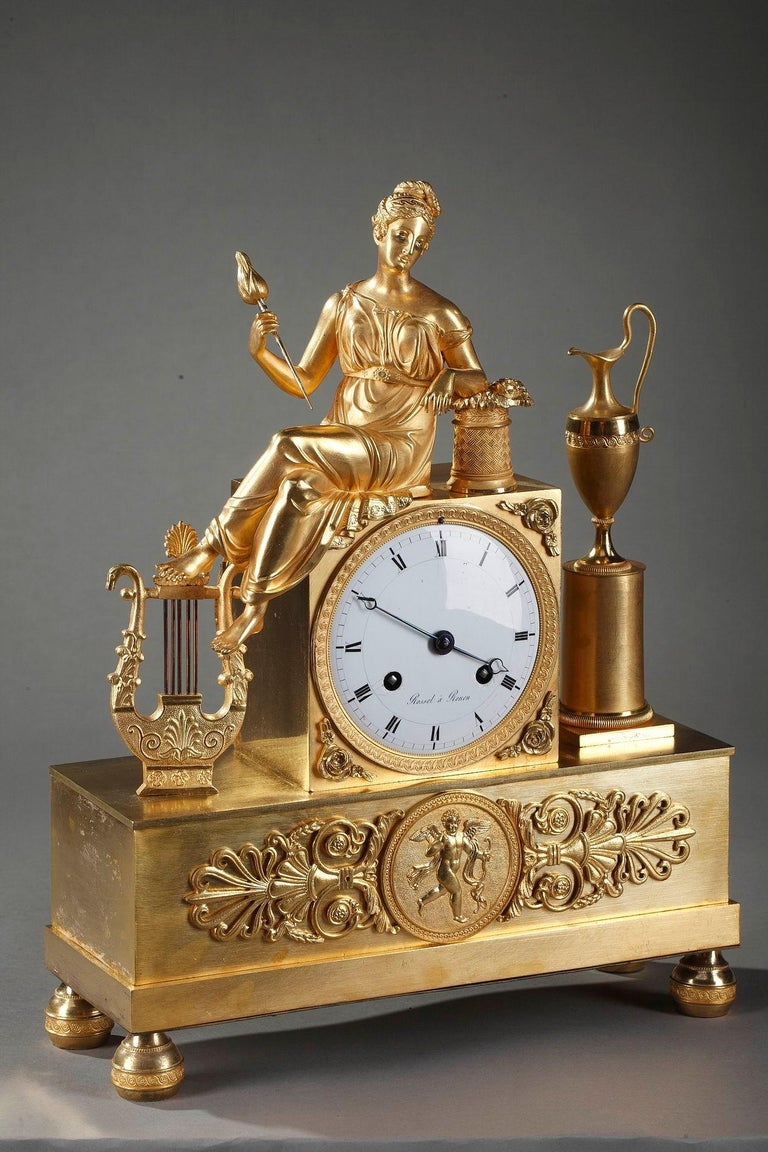 Empire Clock The Spinner by Rossel in Rouen For Sale 1