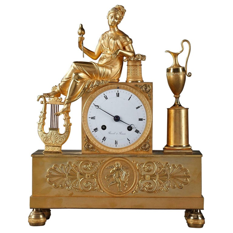 Empire Clock The Spinner by Rossel in Rouen For Sale