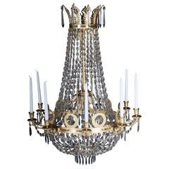 Empire Crystal Chandelier, Charles X, matt gold-plated