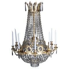 Empire Crystal Chandelier, Charles X, High-Gloss Gilding