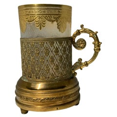 Empire Doré Saint Louis Crystal Etched Tumbler Glass Gilt Brass Music Box Holder