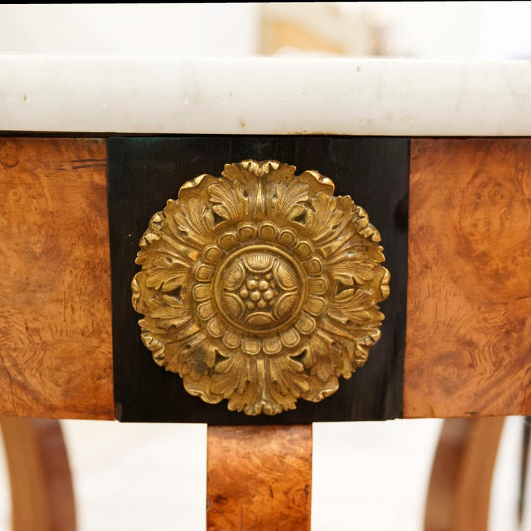 Gilt Empire Early 19th Century Amboyna Center Table by Jean-Joseph Chapuis For Sale
