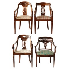 Empire Eclectic Set, Unique Set of 4 Armchairs Each in Different Design