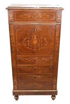 Empire Escritoire Desk Antique French Inlay 1880