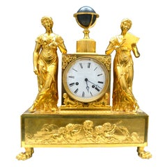 Empire Figural and Allegorical Gilt Bronze Clock Representing Astronom