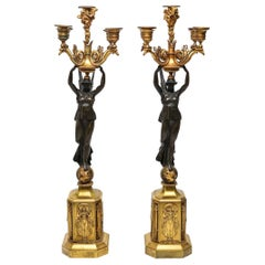 Empire Gilt and Patinated Bronze Five-Light Candelabras in Victory-Form