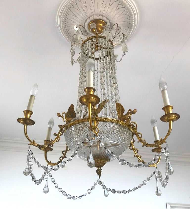 Empire Gilt Bronze and Cut Crystal Chandelier, circa 1815 For Sale 5