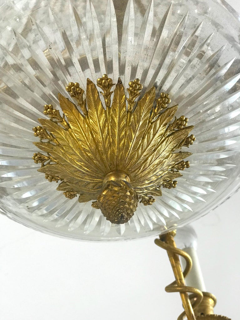 Empire Gilt Bronze and Cut Crystal Chandelier, circa 1815 For Sale 3