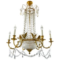 Empire Gilt Bronze and Cut Crystal Chandelier, circa 1815