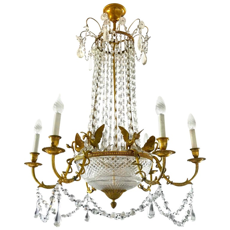 Empire Gilt Bronze and Cut Crystal Chandelier, circa 1815 For Sale
