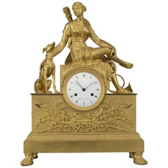 Empire Gilt-Bronze Clock Depicting Diana the Huntress, French, circa 1820