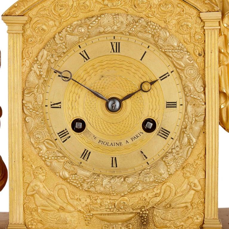 French Empire Gilt Bronze Mantel Clock by Michel-François Piolaine For Sale