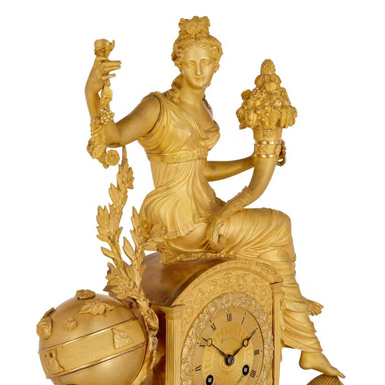 Empire Gilt Bronze Mantel Clock by Michel-François Piolaine In Good Condition For Sale In London, GB