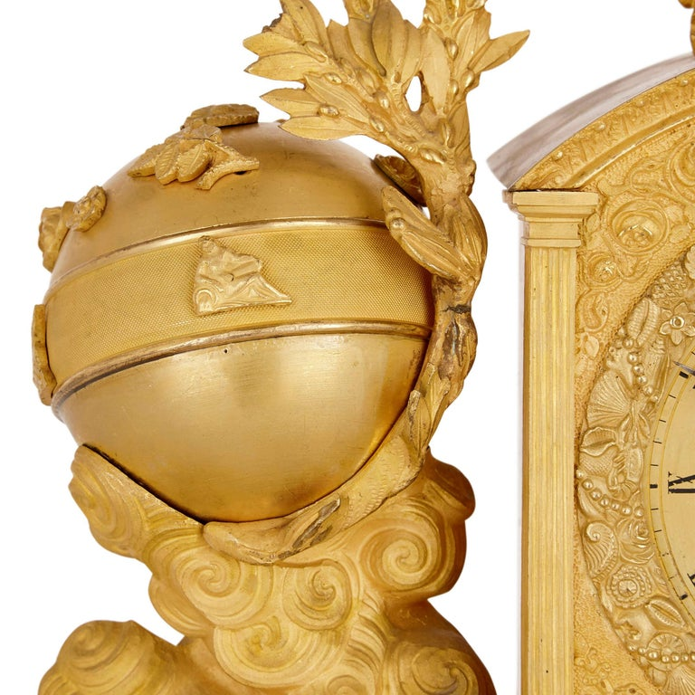 19th Century Empire Gilt Bronze Mantel Clock by Michel-François Piolaine For Sale