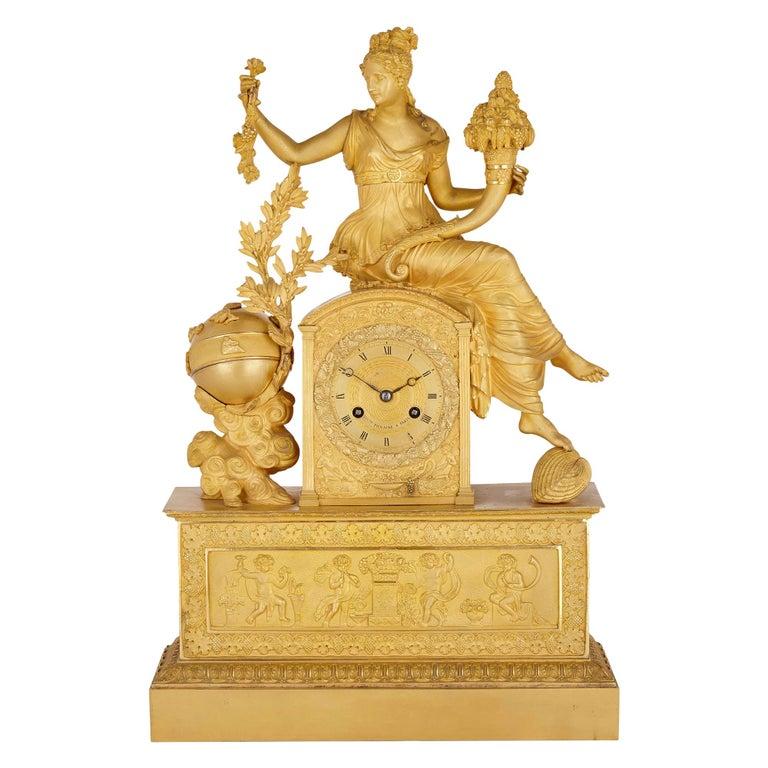 Empire Gilt Bronze Mantel Clock by Michel-François Piolaine For Sale