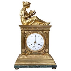 Empire Gilt Bronze Mantle Clock By Dautel, Rue de Thionville à Paris