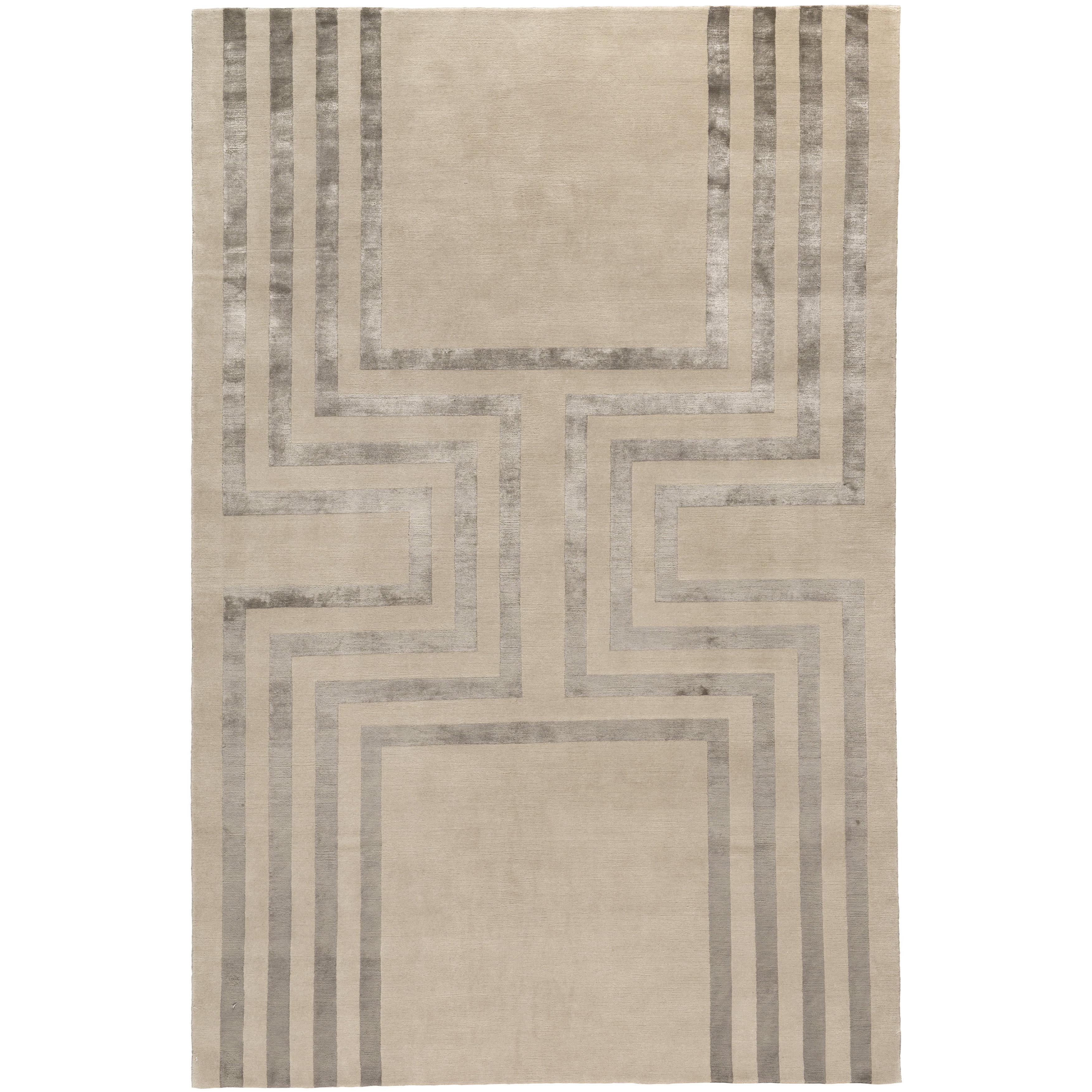 Empire Hand-Knotted 10x8 Rug in Wool and Silk by Tim Gosling