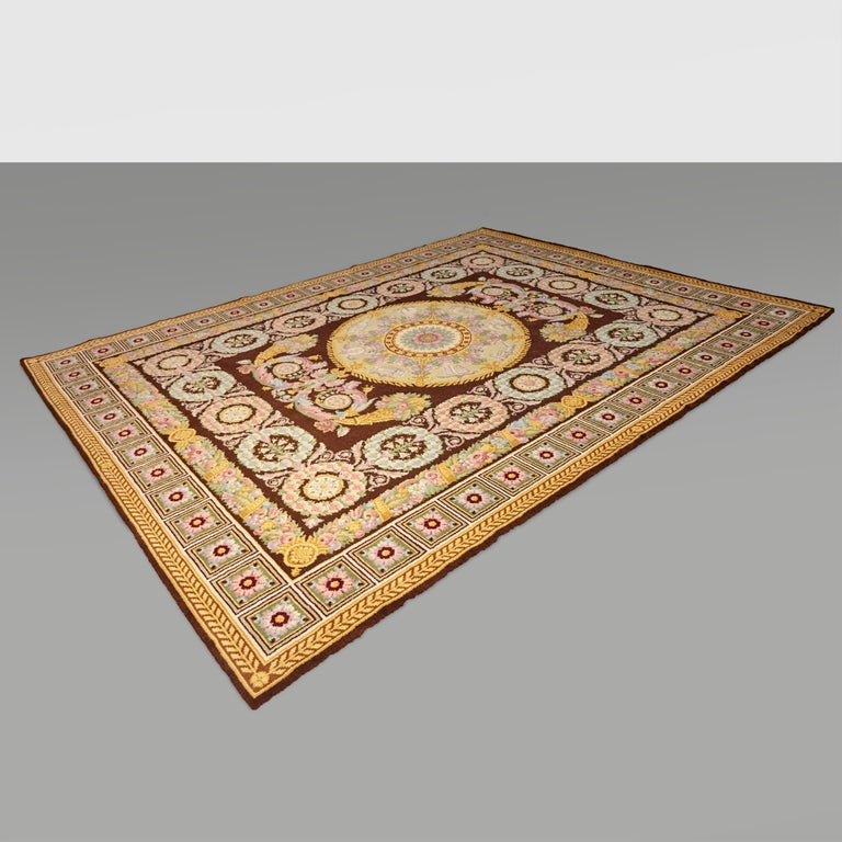 Empire, Hand Knotted Wool Antique Reproduction Rug For Sale 9