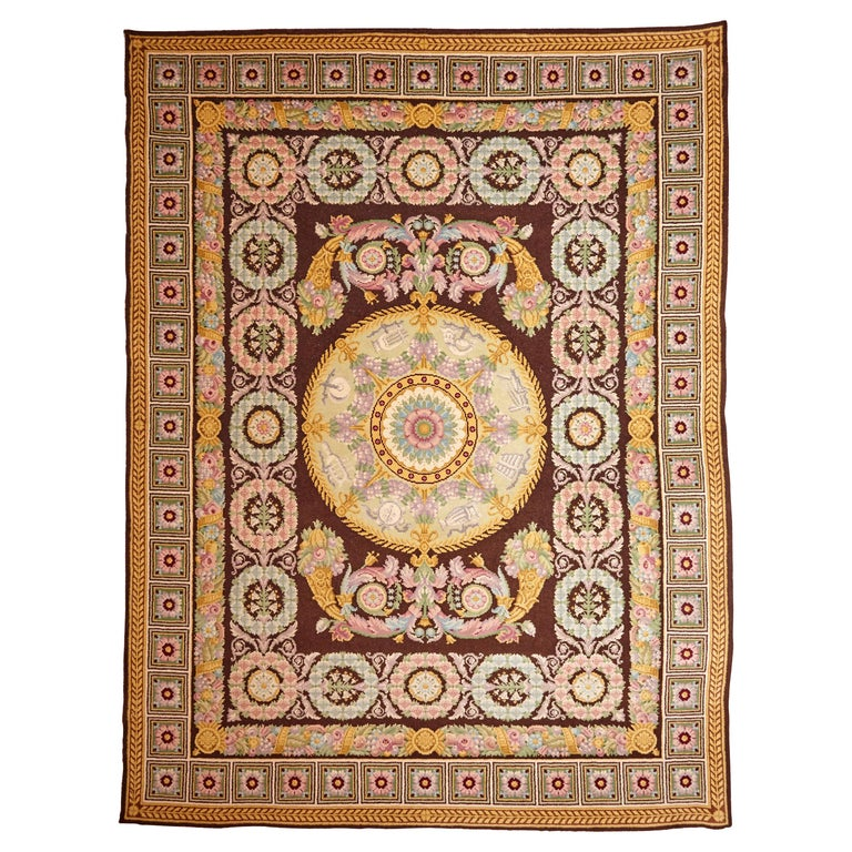 Empire, Hand Knotted Wool Antique Reproduction Rug For Sale