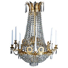 Empire Crystal Chandelier, Charles X, High-Gloss Gilding