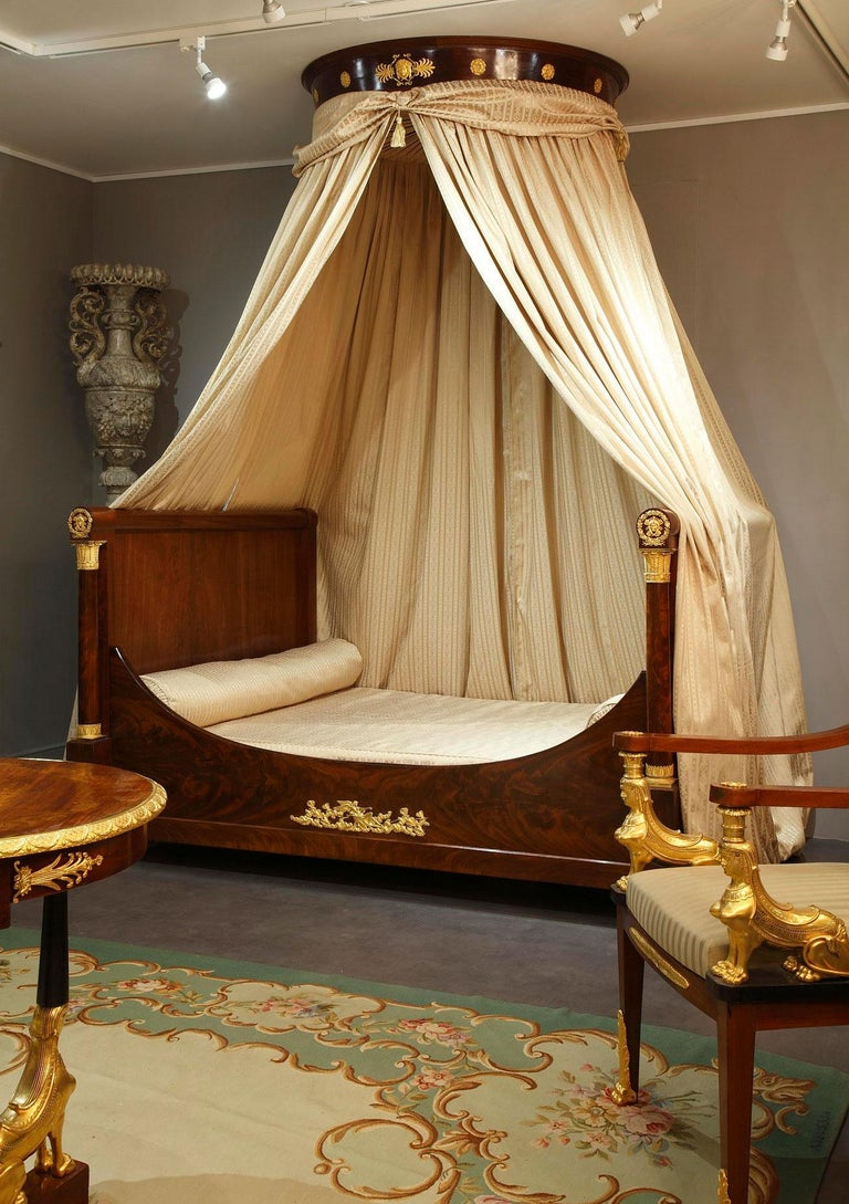 Gilt Empire Mahogany and Ormolu Sleight Bed For Sale