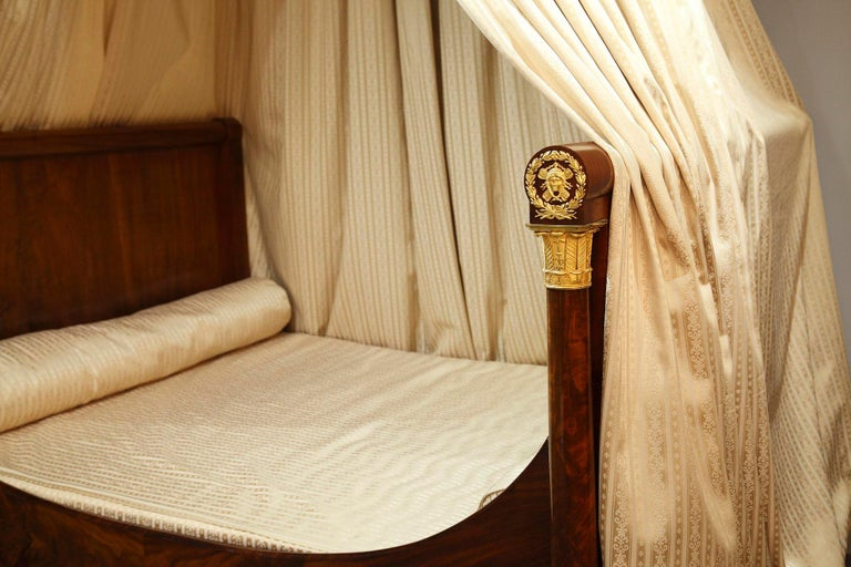 Empire Mahogany and Ormolu Sleight Bed For Sale 3