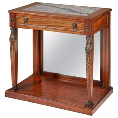 Empire Mahogany Console Table of Small Proportions with Grey Marble Top