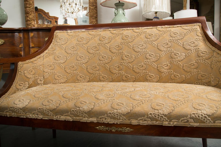 French Empire Mahogany Settee with Gilt Metal Decoration For Sale