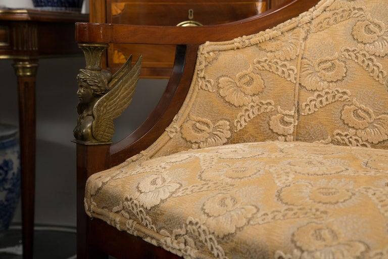 Empire Mahogany Settee with Gilt Metal Decoration In Good Condition For Sale In WEST PALM BEACH, FL