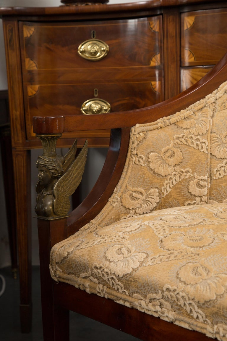 20th Century Empire Mahogany Settee with Gilt Metal Decoration For Sale