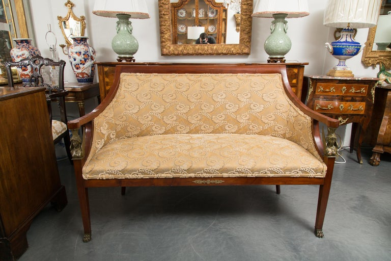 Empire Mahogany Settee with Gilt Metal Decoration For Sale 2