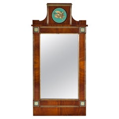 Empire Mahogany Wall Mirror with Verre Églomisé, Russia, circa 1800