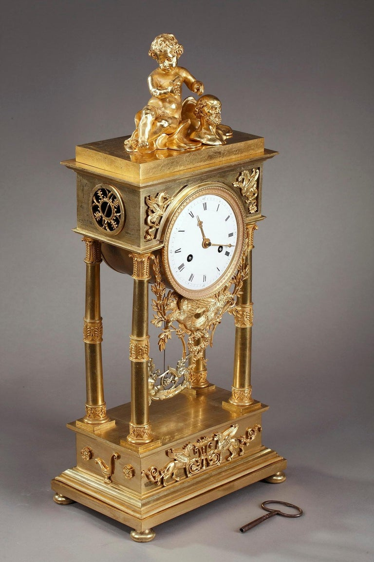 Empire Mantel Clock Allegory of Sculpture For Sale 6