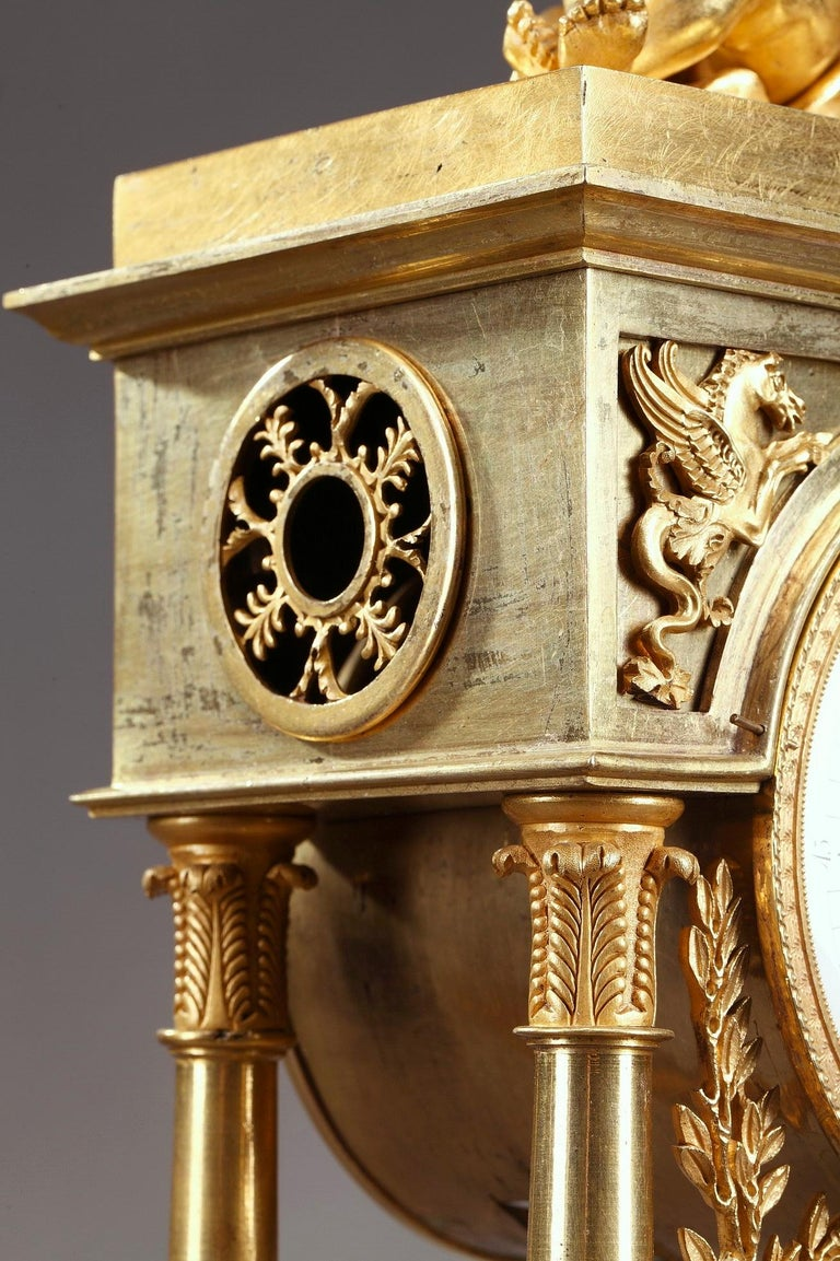 Empire Mantel Clock Allegory of Sculpture For Sale 9