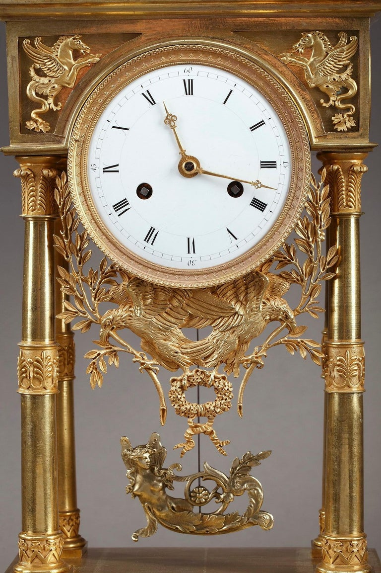 French Empire Mantel Clock Allegory of Sculpture For Sale
