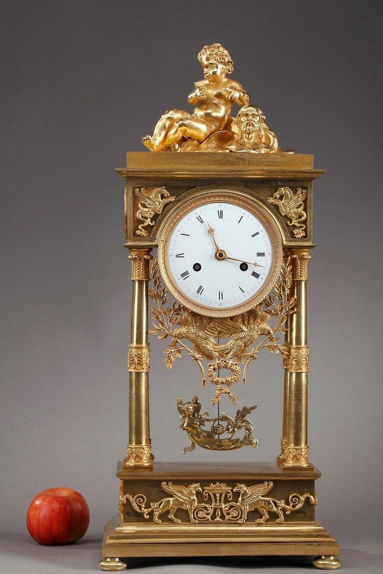 Gilt Empire Mantel Clock Allegory of Sculpture For Sale