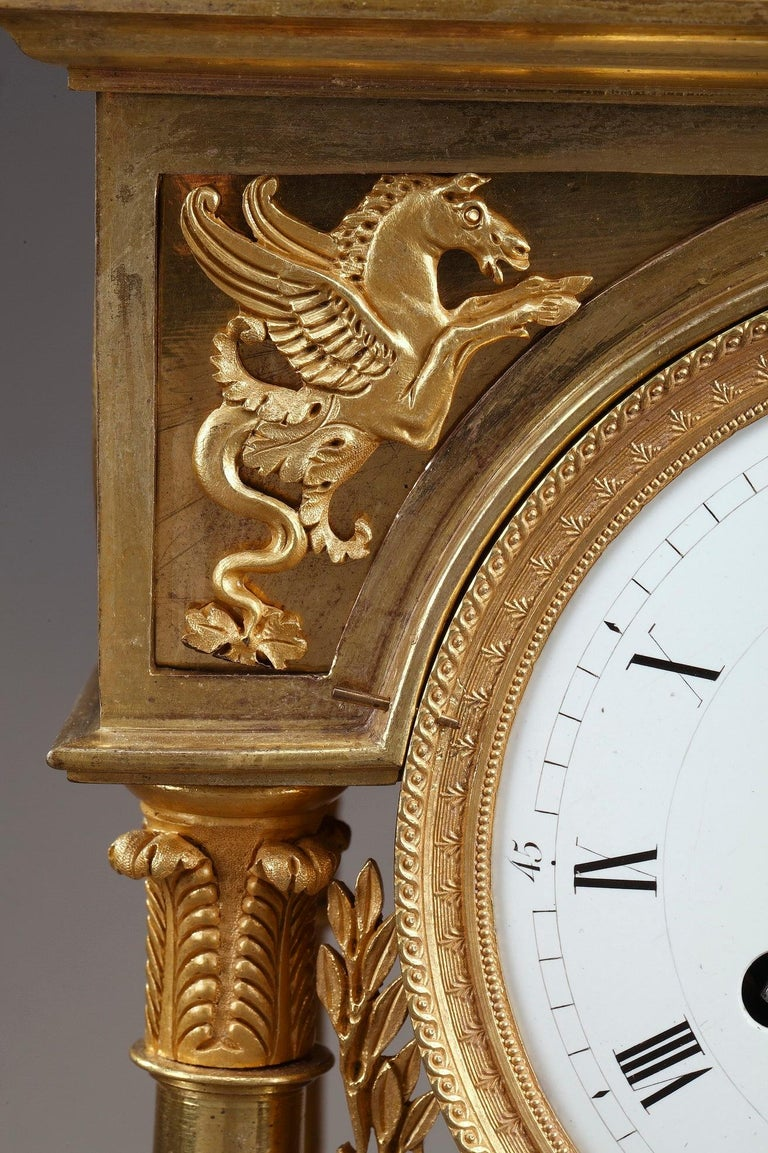 Empire Mantel Clock Allegory of Sculpture For Sale 1