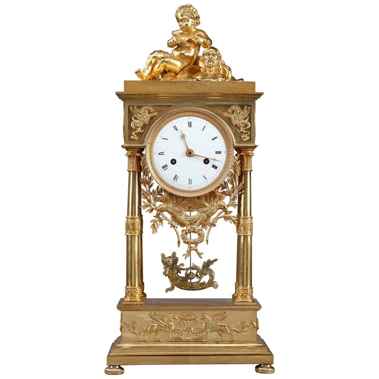 Empire Mantel Clock Allegory of Sculpture For Sale