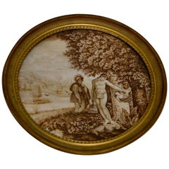 Empire Miniature Grisaille Painting of Figures in a Landscape