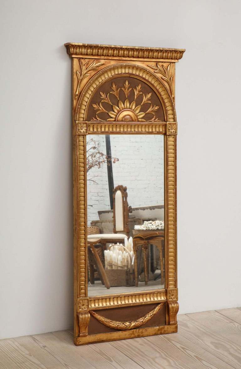Hand-Carved Empire Mirror by C. A. Carlsson, Sweden, Stamped, circa 1916 For Sale