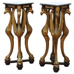 Empire Neoclassical Revival Carved Wood Pedestals with Bird Figures