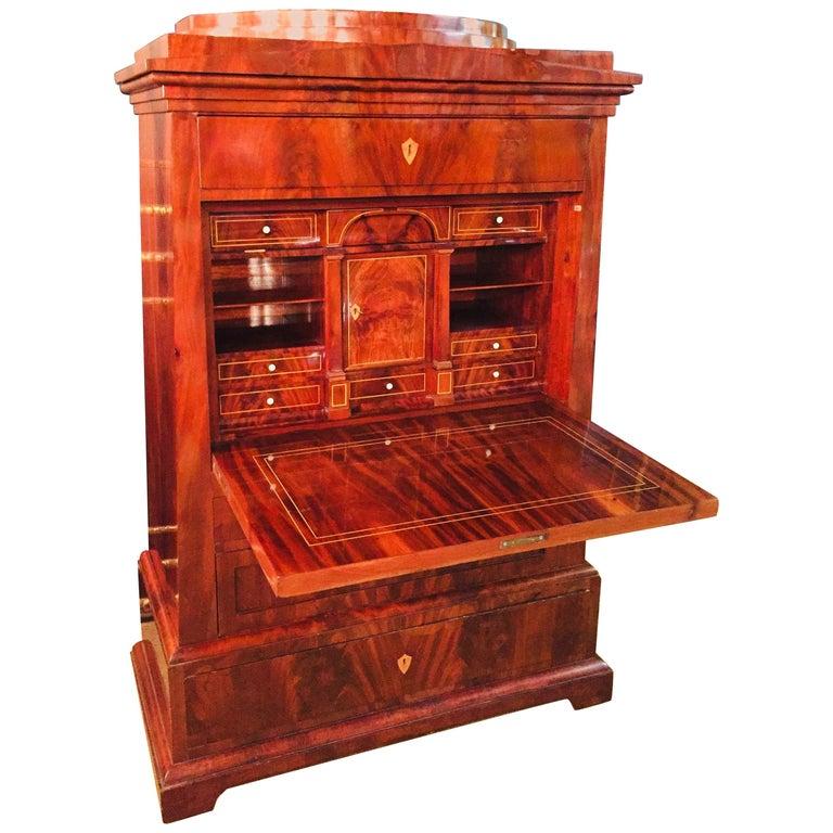 Empire or Biedermeier Secretary Mahogany, 1815 For Sale