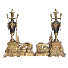 Empire Ormolu 19th Century Mantel Decorations Gilt Bronze Black Marble
