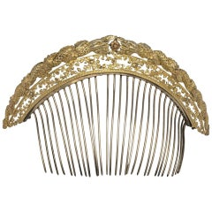 Empire Ornamental Snake Hair Comb Silver Gilt Metal France