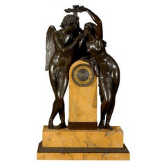 Empire Patinated Bronze Clock