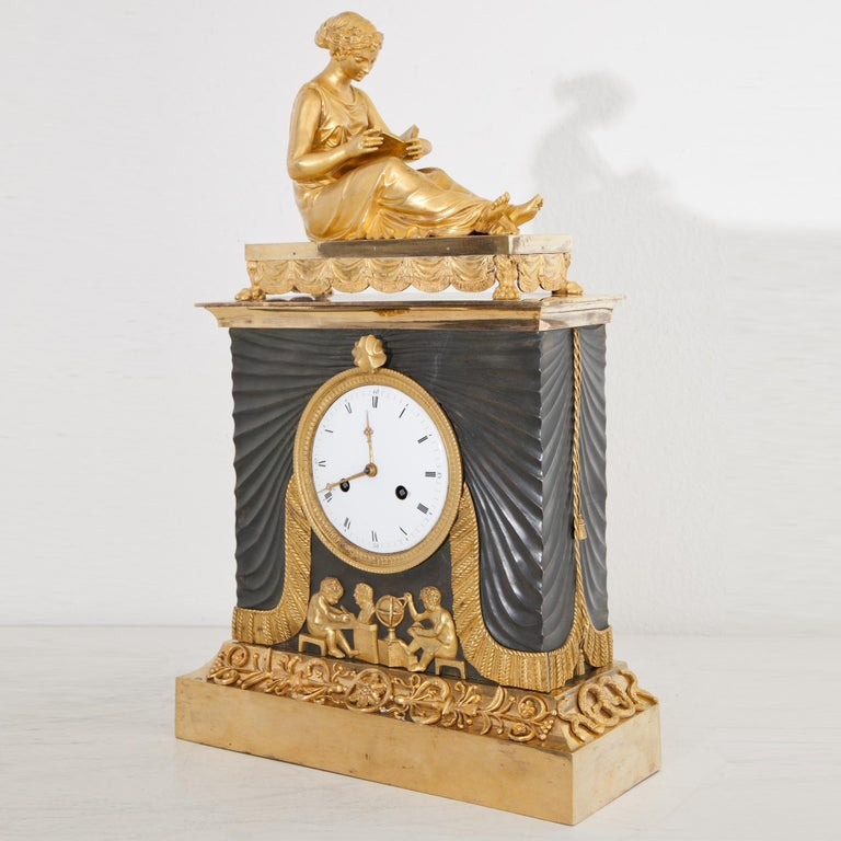 Empire Pendule with Allegory of Sciences, Mallot & Cie, Paris Late 18th Century In Good Condition For Sale In Greding, DE